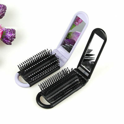 Folding Hair Brush With Mirror Compact Pocket Size Travel Comb Car #fs
