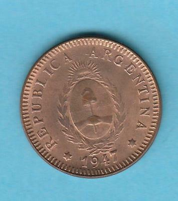 1947 Argentina Dos Centavos almost unc/ Red