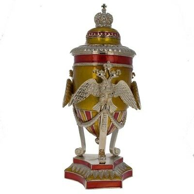"""Russian Imperial Double-Headed Eagle Faberge Inspired Egg 7"""""""