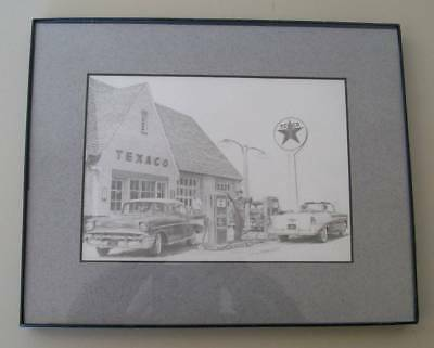Don Greytak Texaco Gas Station 1950'S Chevy Cars Embossed Logo Matted Print Pic