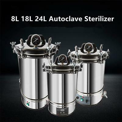 8/18/24L Stainless Steel Autoclaves Sterilizers Dental Medical Lab Equipment