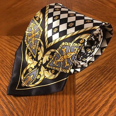 CYBER MONDAY Gianni Versace Tie Black & Gold 100% Silk Made in Italy