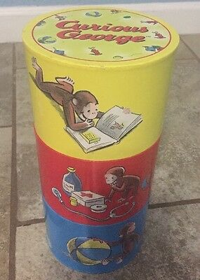 "1999 Curious George 3 Tube Compartment What Not Cardboard Container 10.25""Tall"