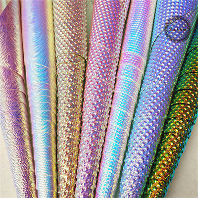 Metallic Dot Holographic Iridescent Leather Fabric Leatherette Faux Vinyl Crafts