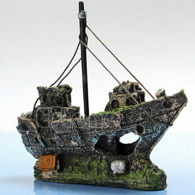 Aquarium Ornament Wreck Sailing Boat Sunk Ship Destroyer Fish Tank Cave Decor da