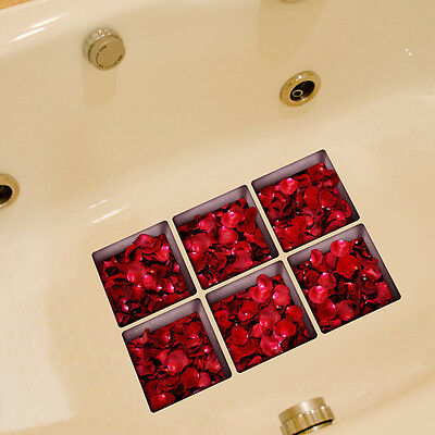 6x Rose Wave Decorate Shower Tiles Bath Tub Anti-slip Appliques Stickers New*