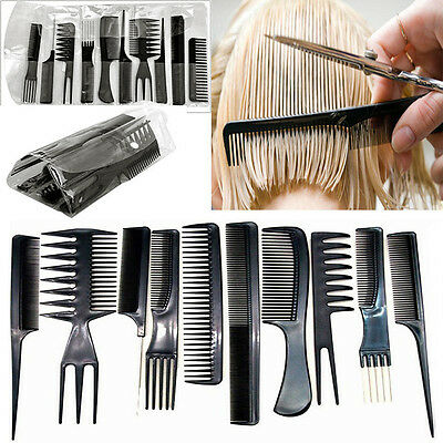 10pcsfessional Hair Styling Comb Set Black Hairdressing Brush Salon Barbers