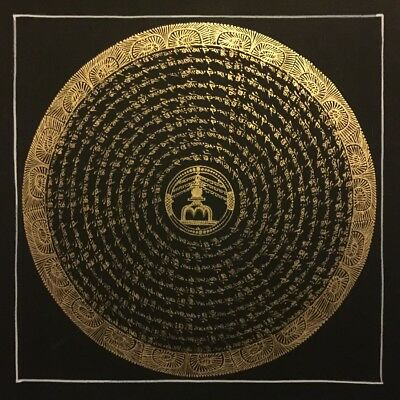 Tibetan Chinese HandPainted Signed Mandala Thangka Gold Painting Meditation a12