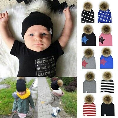 Baby Newborn Kids Knitted Beanie Winter Hat Fur PomPom Ball Children Ski Caps