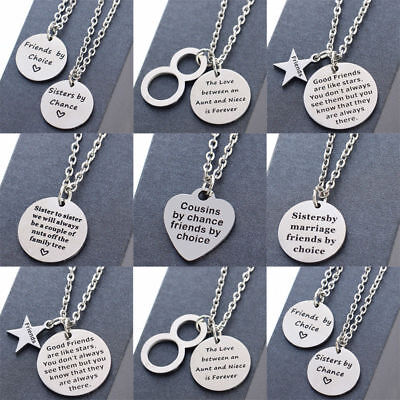 Gifts For Sister Dad Father Family Best Friends Heart Pendants Chain Necklace