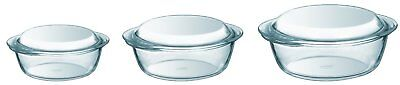 pyrex glass casserole set ovenproof cookware dishes 3 piece Stain resistant