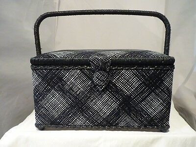 Medium Craft Padded Black/White Sewing Box New With Handle And Compartment Box