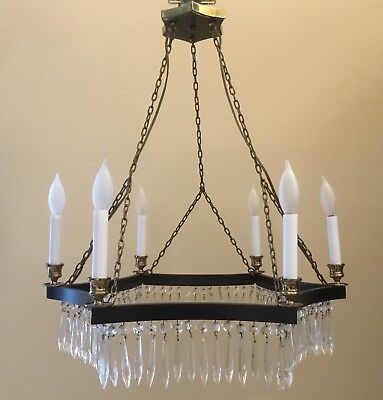 Vintage MCM Baltic Neoclassical French Regency Directoire Crystal Chandelier