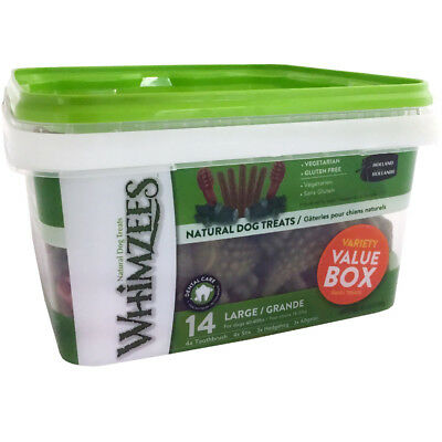 Whimzees Dental Variety Tub Large 14 Treats - Natural Grain Free Dog Chews