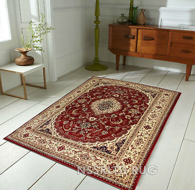 Luxury Heritage Floral Traditional Red Beige Small Xlarge Carved Runner Rug