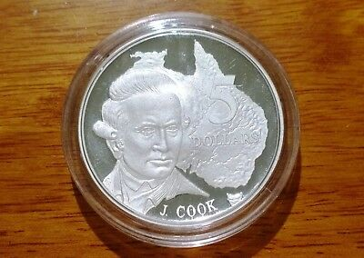 1993 Masterpieces in Silver 1.15 oz (35.79g) silver proof $5 coin - James Cook