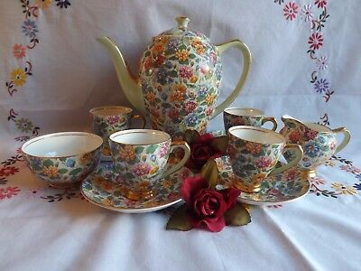 Beautiful Art Deco Empire Very Rare Water Lily Floral Chintz 11 Piece Coffee Set