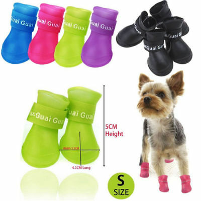 4pcs Waterproof Rubber Rain Walk Shoes Boots for Small Large Pet Puppy Dog S/M/L