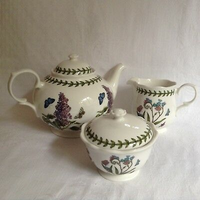 Portmeirion Botanic Garden 3 Piece Tea Set (Teapot, Milk & Sugar)