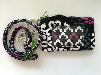 NEW Vera Bradley Zip ID Case and Lanyard Canterberry Magenta