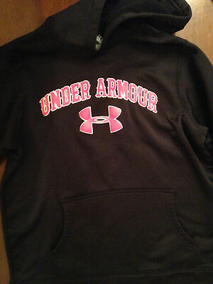 Under Armour Black and Red Hooded Pullover Sweater Hoodie Boys size Youth Large
