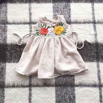 VTG LITTLE GIRLS DRESS ~ PRAIRIE FLORAL PEASANT BOHO HIPPIE  BABY 6-12M 1 Year