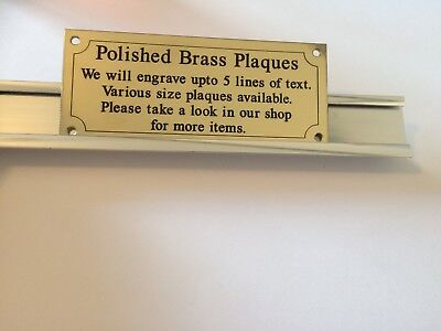 """Solid Brass Plaque size 100 x 50 approx 4"""" x 2"""" Engraved polished memorial"""