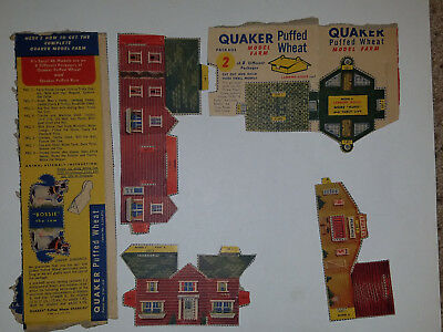 Vintage 1950's Quaker Puffed Wheat Cereal Box Model Farm Package 8