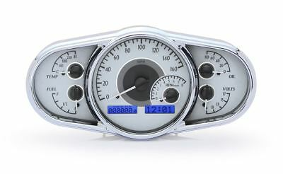 Dakota Digital Multi-Level Gauges - Silver Alloy Face~Blue Display VHX-1016-S-B