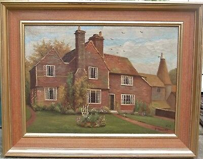 Original Antique/vintage Signed Framed Farmhouse Oil Painting On Canvas