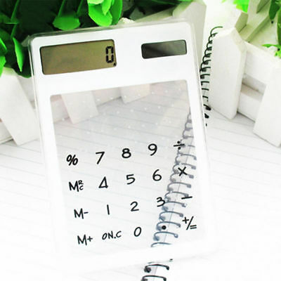Practical Solar Powered Mini Ultrathin Clear Touch-Screen Handheld Calculator
