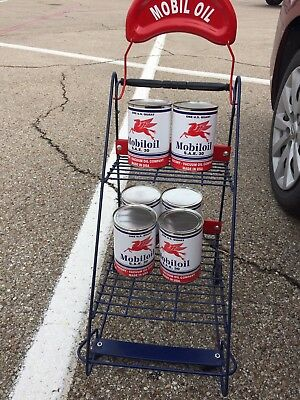 Mobiloil Display Rack With 6 Sealed Empty Cans