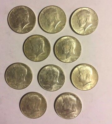 1964 Kennedy Half Dollars - Lot of 10.   90% Silver
