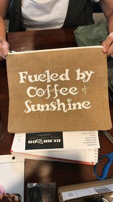 "Jute Carry all bag - Natural ""Fueled by Coffee & Sunshine"""