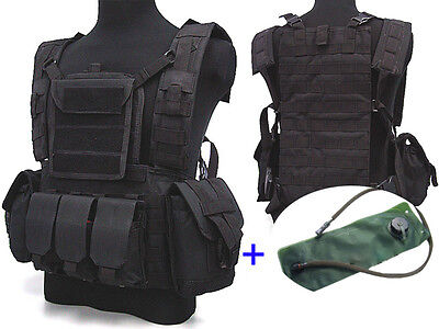 Airsoft Tactical Adjustable MOLLE VEST with Hydration Water Bag Reservoir Black