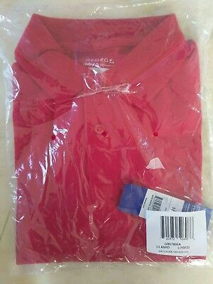 George Boys School Uniform Red Short Sleeve Polo L 10-12 New Free Shipping