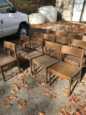Set of 13 vintage oak school house chairs 531 high 18 and five eights wide 17 i…