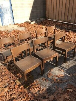 7 matching vintage oak chairs library 16 1/2 W 27 1/2 H 15 seat