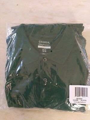 4 (FOUR) George XL 14-16 Hunter Green Short Sleeve Polo Shirts Free Shipping NEW