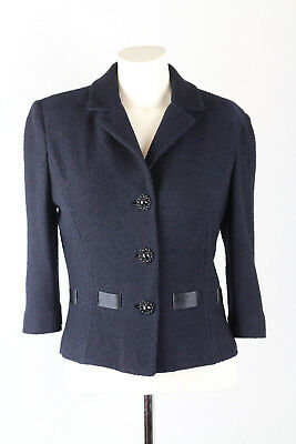 ST. JOHN COUTURE Jacket Black Cropped 3/4 sleeves ribbon trim size 6 / Small