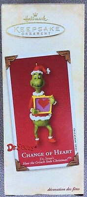 """Hallmark Ornament - 2002 THE GRINCH """"Change of Heart"""" Dr. Seuss How the Grinch"""
