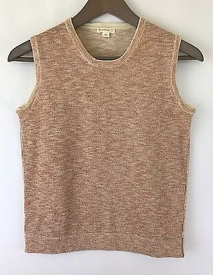 Crewcuts Girls Sz 16 Thin Knit Shimmery Rose Gold Pop Over Sweater Vest