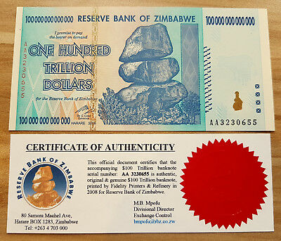 Zimbabwe $100 trillion. Uncirculated. With Certificate of Authenticity from RBZ