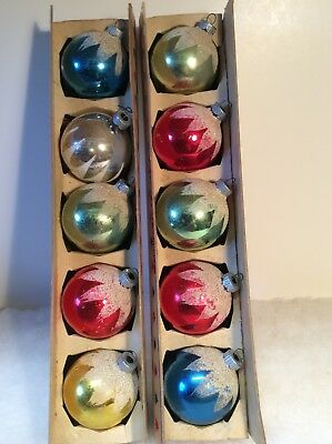 Shiny Brite Snow Capped Vintage Christmas Ornaments Lot Of 10 With Boxes