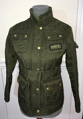 Barbour International Child's Green Motorcycle Jacket with Belt Size 10/11