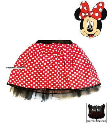 Adult Girls Children's Minnie Mouse Style Fancy Dress Tutu Skirt Costume Deluxe