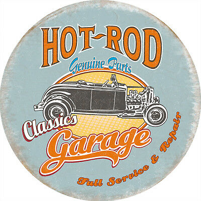 Hot-Rod Garage Classic Genuine Parts, Vintage Round Metal Steel Wall Sign