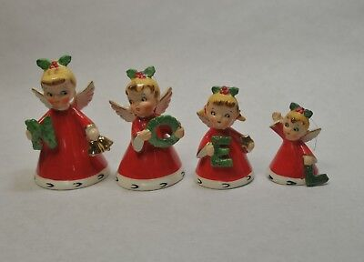 NOEL Angel Bells 1956 Napco Ceramic Christmas set of 4 Very Good Condition
