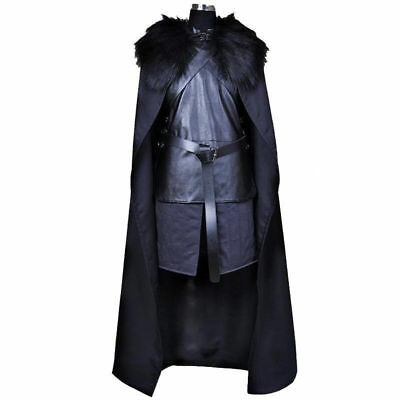 Mens Jon Snow Costume Game of Thrones Cosplay Fancy Dress Halloween Outfit S-2XL