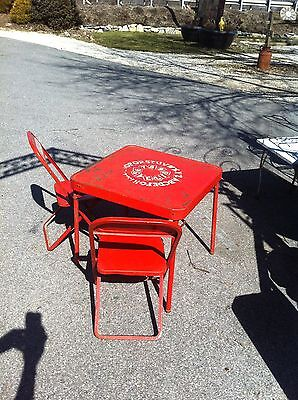 VINTAGE 1950\'S RED childs Metal folding card table and two chair set ...